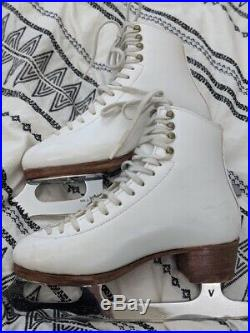 Harlick Competitor Plus White Figure Ice Skates Size 3.5B with Vision Blades