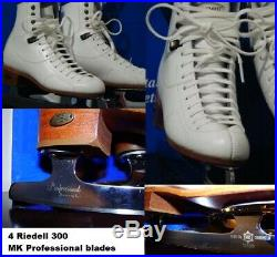 Ice Figure Skates RIEDELL Made in USA w MK Professional blades Girls Size 4