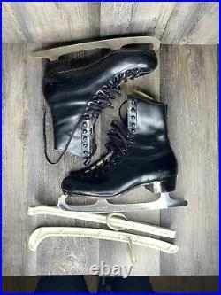 Mens Vintage RIEDELL Ice Skates 7 Black Wilson Boots Sheffield Blades & Covers