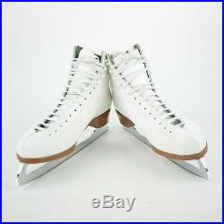 RIEDELL Women's 11 US White Leather Figure Skates ICE SKATES CANADIAN BLADES