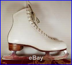 Red Wing Riedell 320 9.5 Womens White Figure Ice Skates 9 1/2 MK 2000 Blades