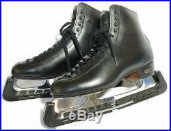 Riedell Black Ice Skates Leather Boots in EUC MK 21 blades Size 8