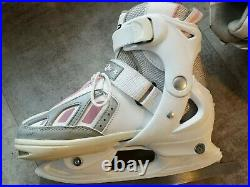 Sfr Girls Ice Skates, Size J13 To 3 Adj, Carbon Blades, Lace Up, Top Straps, Clean