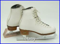US made RIEDELL White Figure Ice Skates with Wilson Sheffield Blades size 4 2A-3A