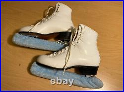 USA RIEDELL 220 White Figure Ice Skates with Wilson Sheffield Blades Size 5 M