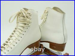USA RIEDELL 220 White Figure Ice Skates with Wilson Sheffield Blades size 8 M