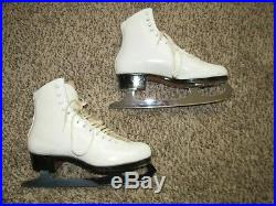 VINTAGE WHITE RIEDELL ROYAL FIGURE SKATES sz 6.5 with WILSON CORONATION ACE BLADES