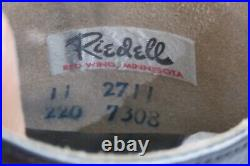 Vintage RIEDELL Black Leather Boot Ice Skates Size M 11 J3 Sheffield Blade & Box