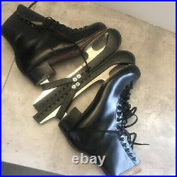 Vintage RIEDELL Red Wing MN #220B Black Ice Skates W /Blades Guards SZ 6