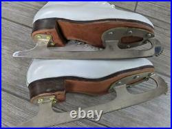 Vintage RIEDELL figure ice skates 101 womens 3 sheffield blade WHITE withbox